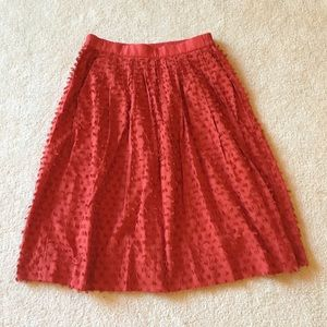 J.Crew women's cotton Clip Dot Skirt red